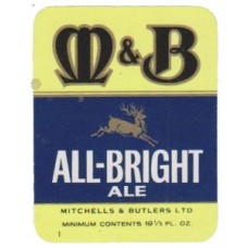 Mitchells & Butlers All-Bright Ale Beer Bottle Label