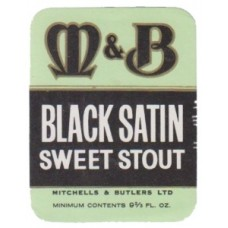 Mitchells & Butlers Black Satin Sweet Stout Beer Bottle Label